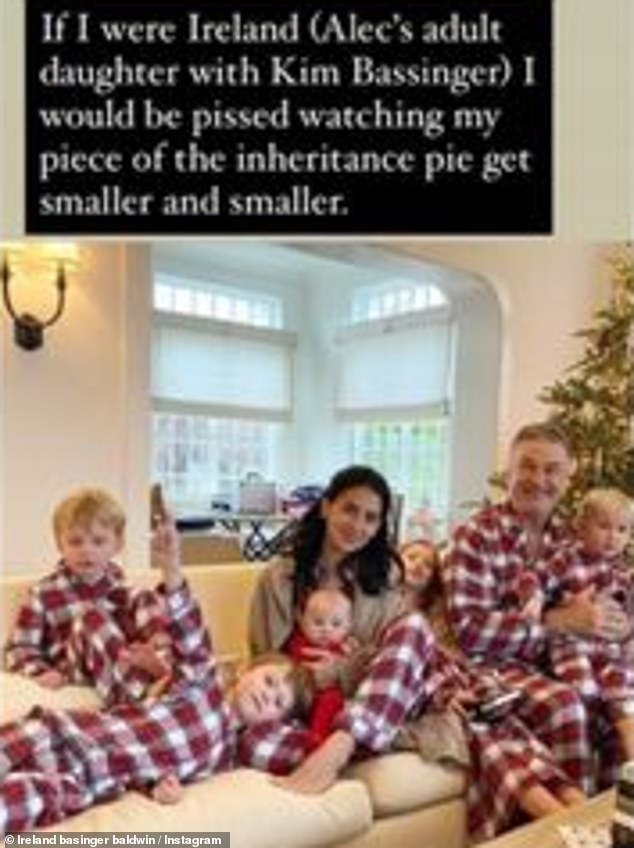 The Big Family: Actress The Grudge Match re-posted a Christmas photo of Hilaria, 36, and Father Alec Baldwin, 62, with their children, accompanied by a comment from Tracie Egan Morrissey, who has fueled the rhetoric about Hilaria's legacy
