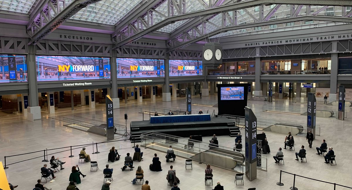 """""""This is a work of art"""": Cuomo cuts the tape on Moynihan's light-filled train hall"""