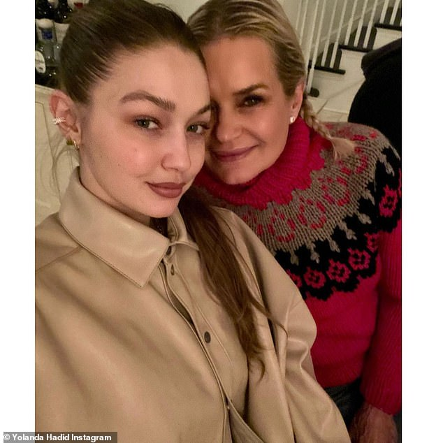 Sweet: Yolanda and Gigi are part of a close-knit and loving family that includes Gigi's siblings, Bella and Anwar;  Seen here on Instagram about Christmastime 2020