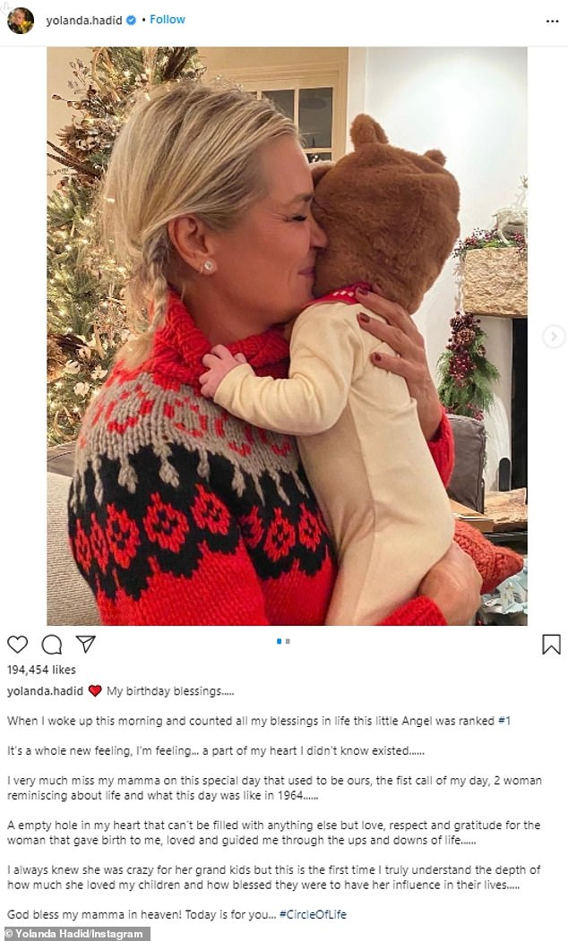 Show love, even bittersweet: Former Real Housewives of Beverly Hills star Yolanda took to her Instagram to celebrate her birthday on Monday, along with a photo showing her holding a totem
