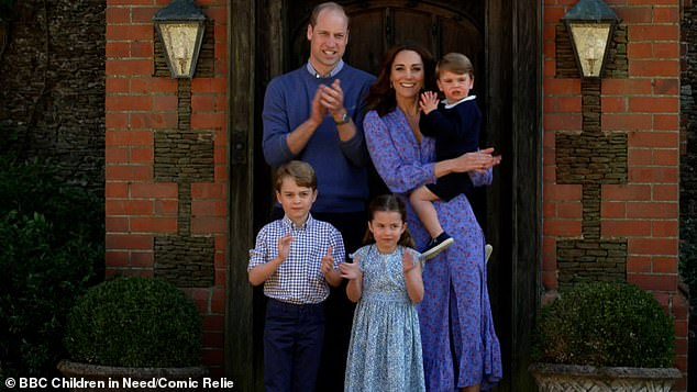 The biographer compared the Duke's actions to those of Prince William, 38, and Kate Middleton, 38, and said it was `` great to hear '' from him at the height of the Covid-19 crisis (pictured, the Duke and Duchess of Cambridge with their children applaud for the NHS )